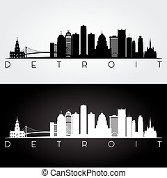 Detroit skyline silhouette - Detroit USA skyline and...