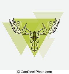 Moose head geometric lines silhouette