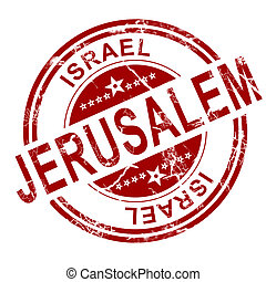 Red Jerusalem stamp with white background, 3D rendering