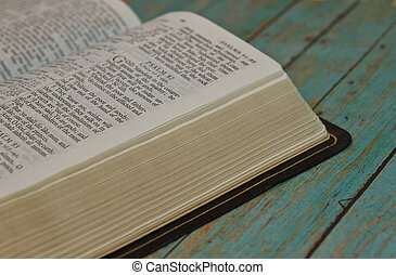 Bible opened to the Book of Psalm