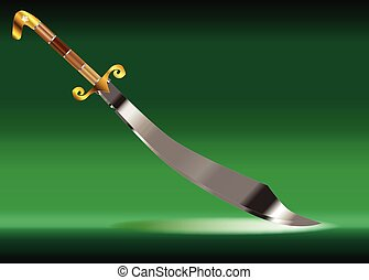 Scimitar Over Green Background - A scimitar sword as used by...