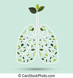 Lungs with Green leaf. Gray outline vector illustration....