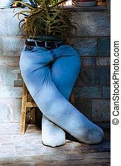Blue jeans pants reused for gardening flower pot - Old blue...