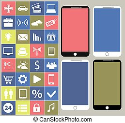Smartphone with different icons - Smartphones different...
