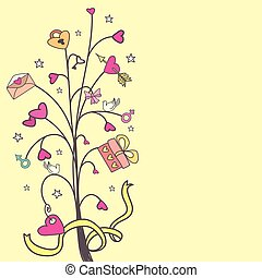 Background with a tree of love