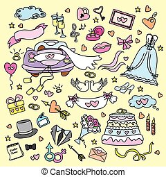 doodle wedding set, hand drawn, vector illustration
