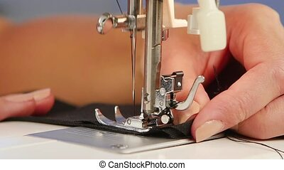 Sew stitch on the sewing machine. Slow motion - Sew stitch...