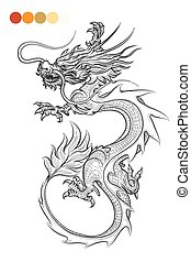 Coloring page with dragon
