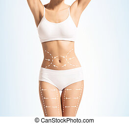 Fit body of a young woman with arrows - Women slim body in...