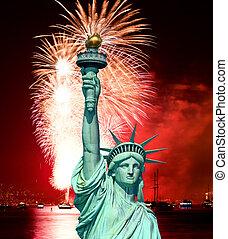 a, estátua, liberdade, julho, 4th, fogo...
