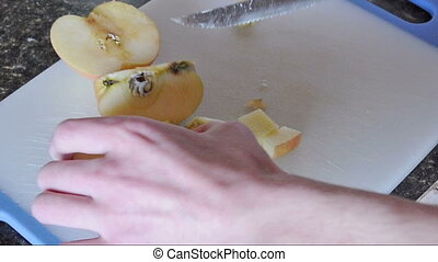 Cutting an Apple Timelapse - Cutting an apple into little...