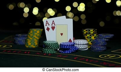 Poker Chips and Two Aces. Close up. Slow motion - Winning...