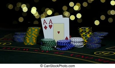Combination of poker. Falling two king on a table. Close up....