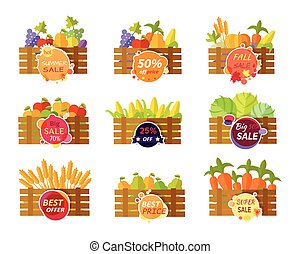 Set of Stickers Grocery Sale Fruits and Vegetables