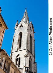 Aix-en-Provence - White church tower in the city of...