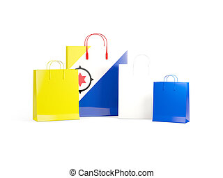 Flag of bonaire on shopping bags. 3D illustration