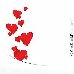 decoração, corações, voando