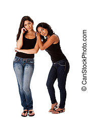Young woman couple standing - Beautiful happy young woman...
