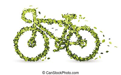 Bicycle from green leaves. vector illustration on white background