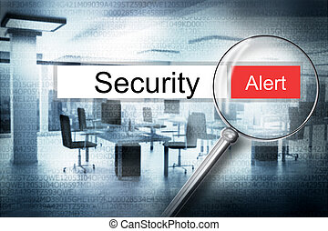 reading the word security browser search alert 3D Illustration
