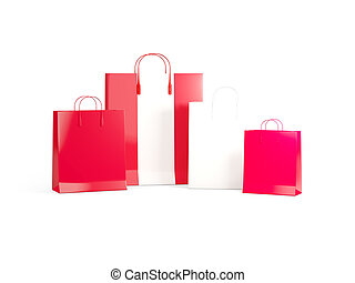 Flag of peru on shopping bags. 3D illustration