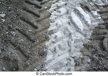 Tire tracks in the sand