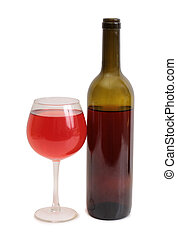 Wine glass on white - Glass and bottle wine on white...