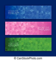 abstract geometric triangle shapes banners in three different colors