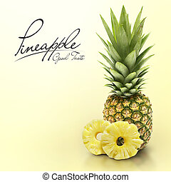 Pineapple on yellow solid background