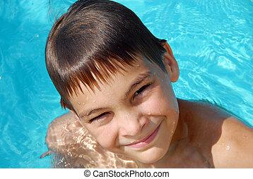 Adolescente, niño, natación, piscina, retrato