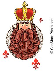King Portrait - Portrait of cartoon king with big beard.