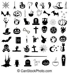 Icons on the theme of Halloween