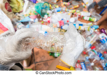 Recycling garbage and reusable waste management as old paper...