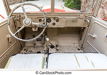 Interior of Old Military Vehicle - Interior of old and rusty...