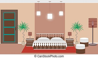 Hotel bedroom interior including light equipment, bed,...