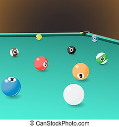 Billiard game balls position on a pool table. Vector...