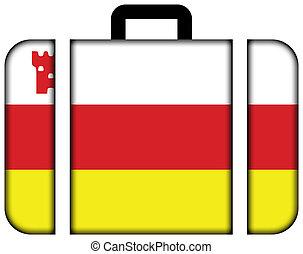 Flag of Santa Barbara, California, USA. Suitcase icon, travel and transportation concept