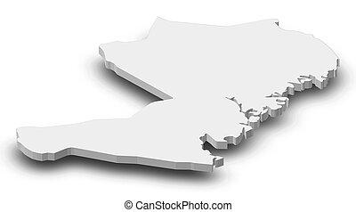 Map - Vaesternorrland County (Sweden) - 3D-Illustration -...