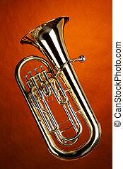 Tuba Euphonium Isolated On Gold - A gold Euphonium tuba...