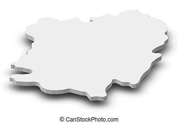 Map - Caras-Severin (Romania) - 3D-Illustration - Map of...