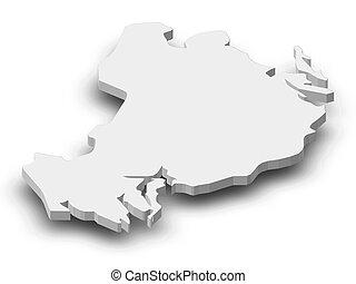 Map - Uppsala County (Sweden) - 3D-Illustration - Map of...