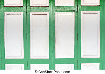 the green white wood door in the vantage style