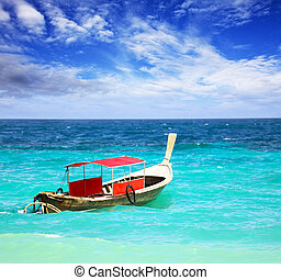 Thai longtail boat - Traditional Thai longtail boat in the...