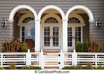 Three french doors - Three french door entrance to grey...