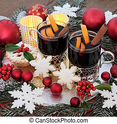 Christmas Celebration Scene - Christmas mulled wine,...