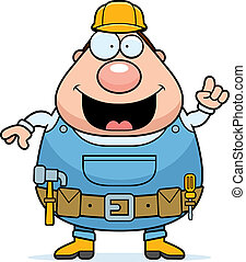 Handyman Idea - A happy cartoon handyman with an idea