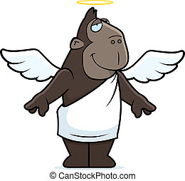 Angel Ape - A happy cartoon ape with angel wings and halo.