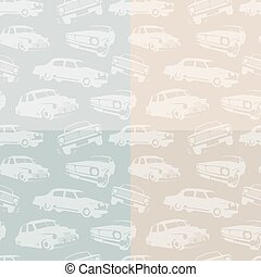 Isolated abstract white color retro cars on the blue and pink background pattern. Automobiles backdrop. Kids wallpaper. Vector illustration.
