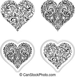 Valentine Holiday Outline Hearts