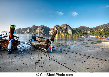 Phi phi island - Traditional longtail boats at Phi Phi...